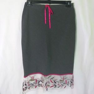 Gray Skirt with Embroidered Chiffon & Ribbon